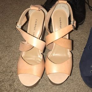 Chinese laundry tan wedges